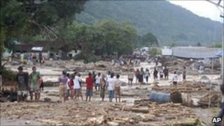 Residents of flooded Wasior district, West Papua 5 Oct 2010