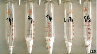 Glass tubes containing powdered amino acids