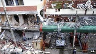 The apartment block hit by a bomb in Nonthaburi, Thailand 5 Oct 2010