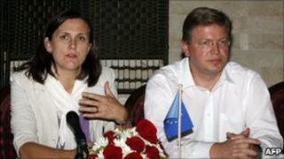 Cecilia Malmstrom and Stefan Fuele in Tripoli, 5 October
