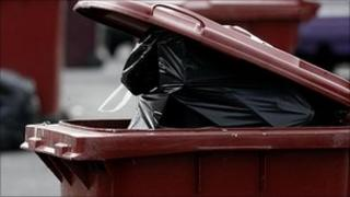 A bin awaiting collection