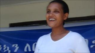 Birtukan Mideksa greeting supporters at her home