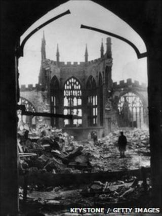 Ruins of Coventry cathedral after the Blitz of 14 November, 1940