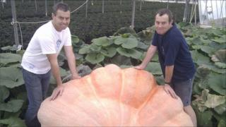Ian and Stuart Paton with pumpkin