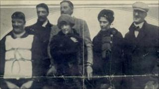 Titantic survivors picked up by the Carpathia, including Laura Francatelli (back, second right).