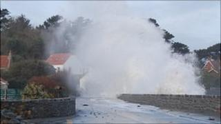 Waves hitting Guernsey's west coast