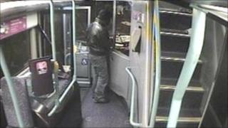 Man threatening bus driver