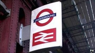 A sign at an entrance to Waterloo station