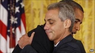 Rahm Emanuel hugging Barack Obama
