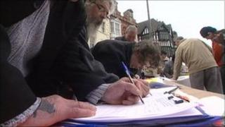 People signing petition in Wolverhampton