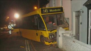 Bus crashed into house
