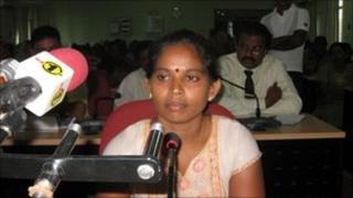 Punitharuban Vanitha giving evidence before the presidential panel
