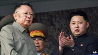 Kim Jong-il (L) and his son Kim Jong-un (R) on reviewing stand watching military parade in Pyongyang - 10 October 2010