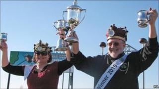 World Conker Championships winners Wendy Bradford and Ray Kellock with their trophies
