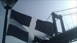 Cornish flag at Tamar Bridge