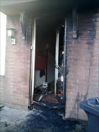 The front door of the property was set alight