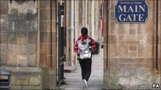 Student walks through Glasgow University campus
