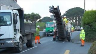 Resurfacing work on Forest Road in Guernsey