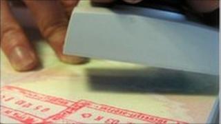Stamping a passport