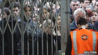 Commuters wait outside station during October's Tube strike