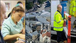 Composite image of care worker, the Scottish Parliament and Scottish Water worker