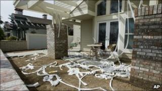 Toilet paper strewn at the Huntingdon Beach home of Robert Rizzo, California