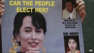 A poster of Burma's detained democracy leader Aung San Suu Kyi