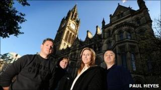 Hollywood executives outside Manchester Town Hall tour