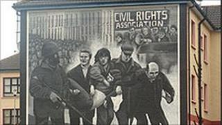 One of the murals in the Bogside