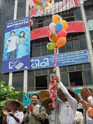 Members of Burma's newly-formed opposition party National Democratic Force (NDF) during the opening ceremony of their party office in Bago