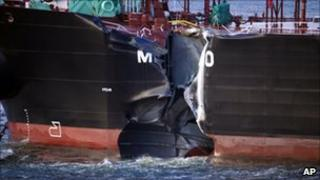 The damaged hull of the Greek tanker the Mindoro
