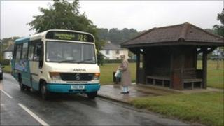 Village bus at a bus stop