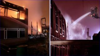 The fire at Wilkinson Primary School (L) and the RSA Academy (R)