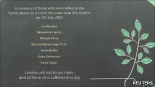Memorial to the dead at Aldgate station