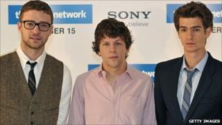 Justin Timberlake, Jesse Eisenberg and (r) Andrew Garfield
