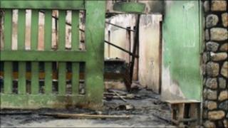 The burnt out police station in Maiduguri