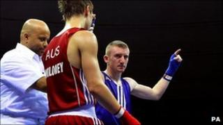 Paddy Barnes celebrates victory at Commonwealth Games in India