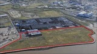 The site of the proposed power plant