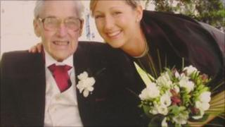 Dr Heledd Griffiths and her father, Gwilym, at a family wedding about a year before his death