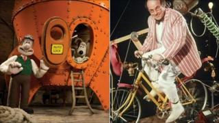 Wallace and Gromit in space rocket; Heinz Wolff on bike