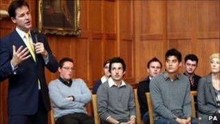 Nick Clegg speaking to students at Queen's University Belfast