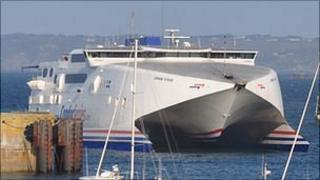 Condor Vitesse entering Guernsey's St Peter Port harbour