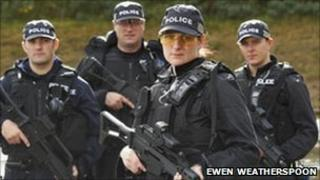 Pc Alison McLennan and colleagues. Pic: Ewen Weatherspoon