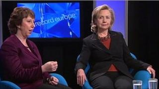 Baroness Ashton and Hillary Clinton