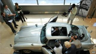 The Aston Martin DB5 driven by actor Sean Connery as James Bond (007) in the Goldfinger and Thunderball movies
