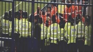 Line of police officers at match