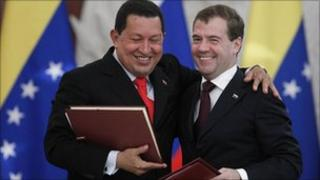 Hugo Chavez and Dmitry Medvedev