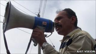 Ayed Morrar addressing demonstrators