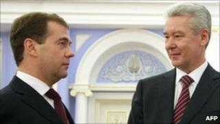 President Dmitry Medvedev and Sergei Sobyanin. Photo: 15 October 2010