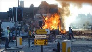 Explosion in Shrewsbury town centre-photo by Bill Gee